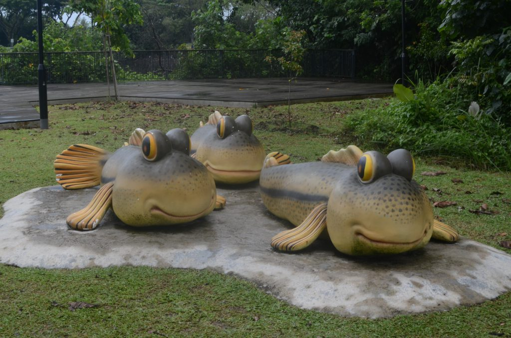 Mudskipper Statues at the Visitors Center at Sungei Buloh Wildlife Preserve, Singapore