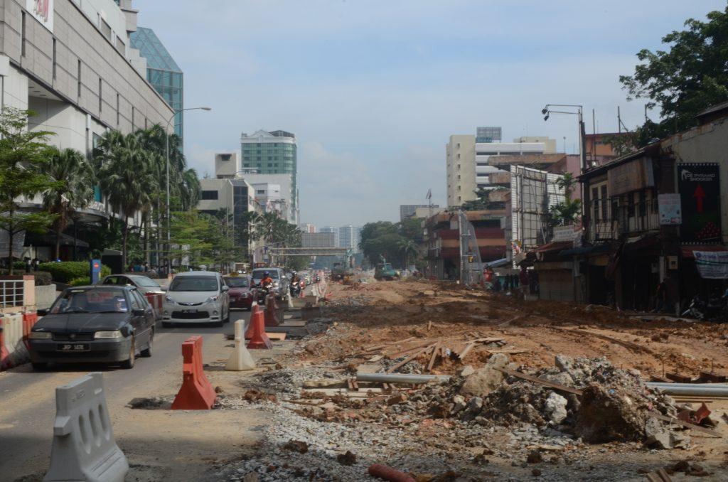 Street under construction in Johor Bahru, Malaysia