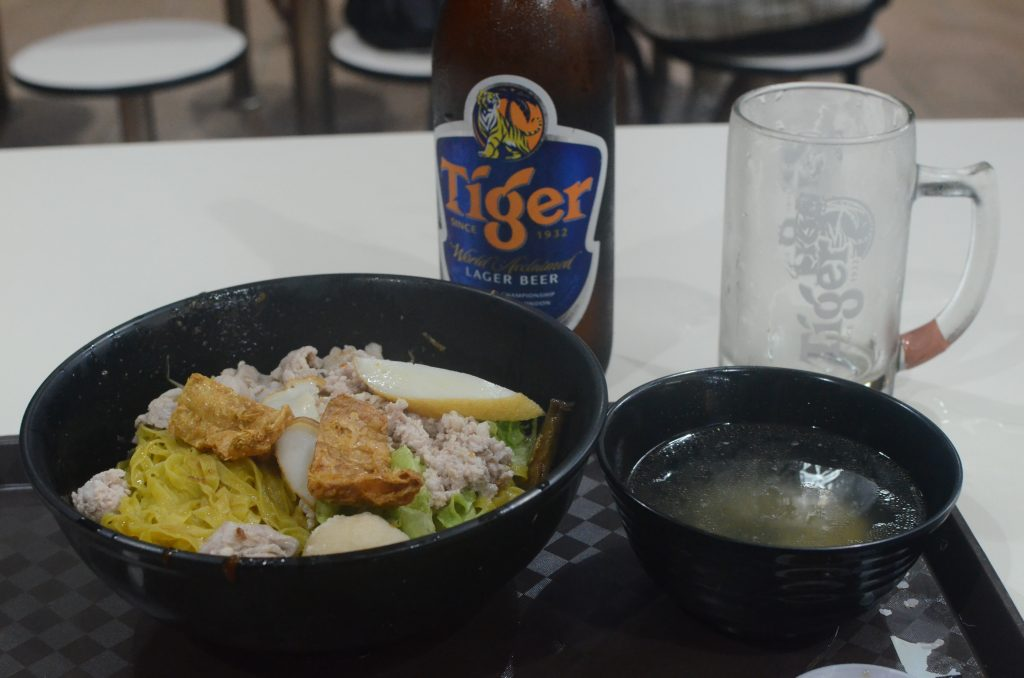 Noodle bowl and Tiger beer at Newton Food Centre, Singapore
