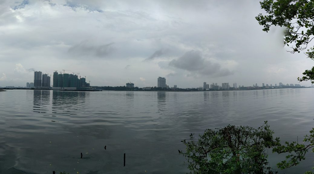 Panorama of Johor Bahru, Malaysia from Sungei Buloh Wetland Preserve, Singapore