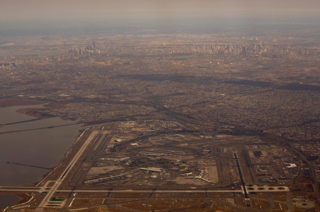 Aerial view of JFK and NYC