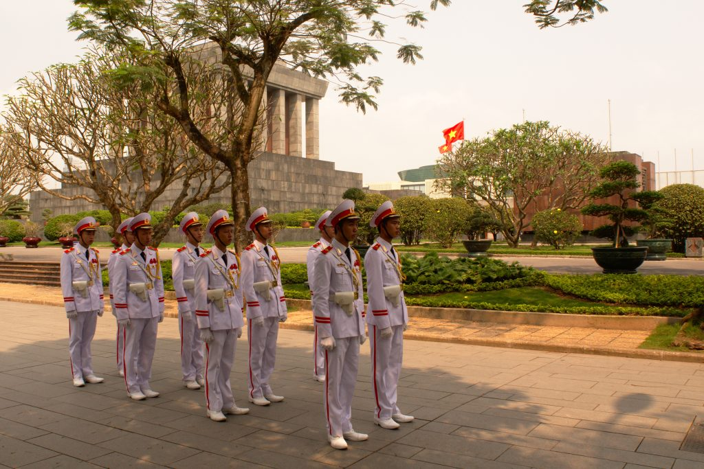 Changing of the guard at Ho Chi Minh's Mausoleum, Hanoi, Vietnam