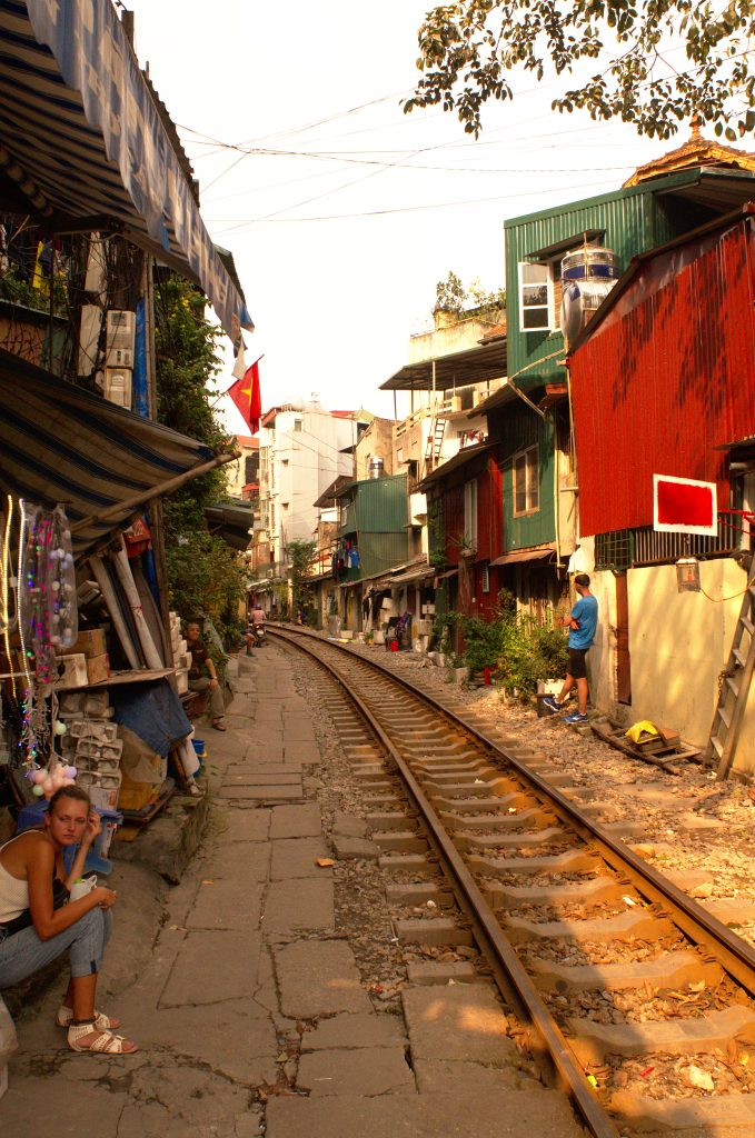 Railroad track going through a commercial area, Hanoi, Vietnam